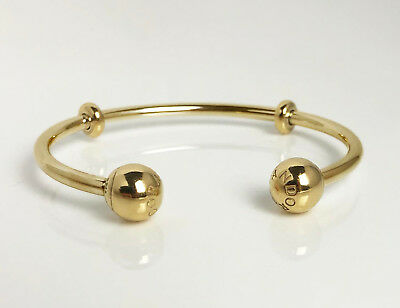 AU198 • Buy Authentic PANDORA Open Bangle With Logo End Caps 14K Gold Vermeil Plated 596477