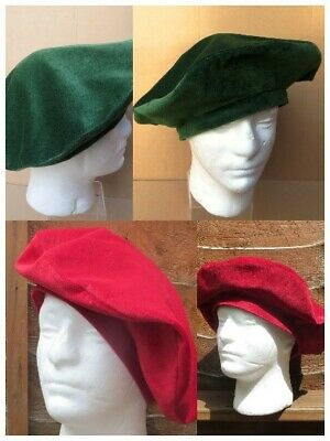 Re-enactment RED GREEN VELVET  MEDIEVAL TUDOR ROUND HAT BERET LINED WITH COTTON • 14.99£