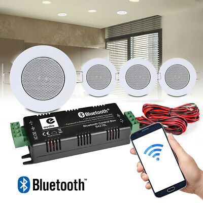 4x Ceiling Speakers And Bluetooth Amplifier Home Audio Installation Music System • 94.99£