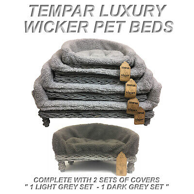 £47.99 • Buy New Grey Wicker Pet Sofa Bed Cat Dog Puppy Raised Couch Basket Fleece Cushion ++