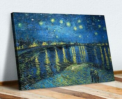 Van Gogh Canvas Wall Art Print Artwork  Picture Starry Night Over The Rhone • 12.99£