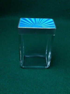 Asprey Baby Blue Guilloche Enamel Solid Silver And Glass. Signed And Hallmarked  • 325£