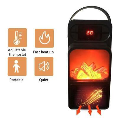 500W Space Heater Fireplace Flame Timer Fan Air Warmer Blower Silent Portable • 15.81$