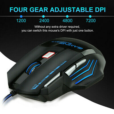 AU14.99 • Buy 7200DPI 7 Button Wired Gaming Mouse LED Optical USB Ergonomic Mice For PC Laptop