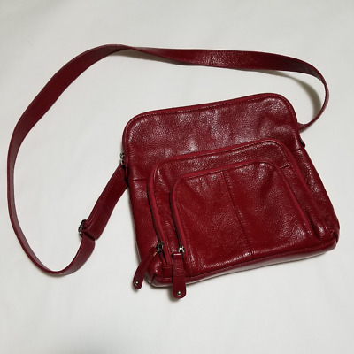 $ CDN38 • Buy Danier Red Pebbled Leather Crossbody Bag W/ Adjustable Strap | 9.5 X 9.5