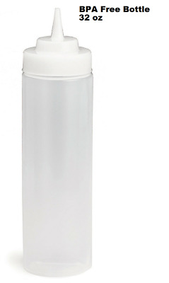 32oz Widemouth Squeeze Clear Sauce Bottle Dispenser Cafe Catering Sauce Bottle • 2.99£