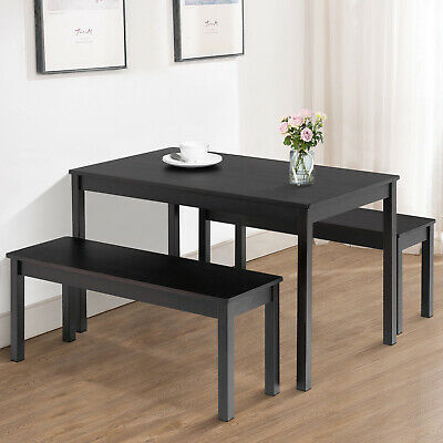 3PCS Dining Table Set W/ 2 Benches Kitchen Dining Room Furniture Pine Wood Black • 126.90$