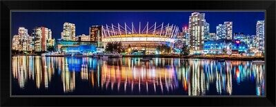 £83.65 • Buy BC Place Stadium And Vancouver Skyline Black Framed Wall Art Print, Skyline Home