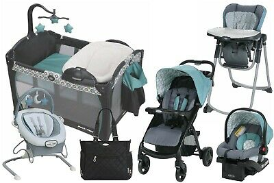 Baby Stroller With Car Seat Travel System Playard High Chair Bouncer Diaper Bag • 549.20£