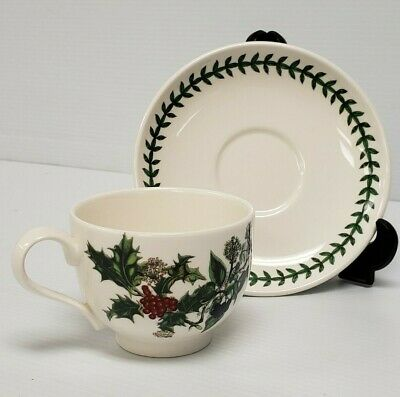 Portmeirion Christmas  HOLLY & IVY  Cup & Saucer England Mismatched • 9.99$