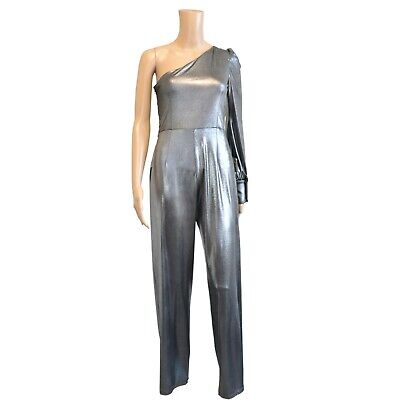 £12.95 • Buy Stretch Silver Metallic Party Jumpsuit With One Shoulder Sleeve Size 8-12