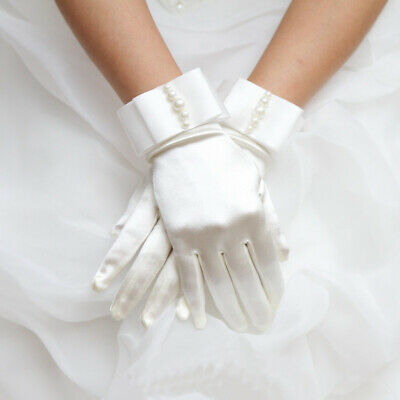 £4.58 • Buy Satin Short Bead Gloves Dress Accessories Ceremony Wedding Communion Girl Party