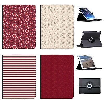 Azzumo Maroon Floral Flowers & Stripes Pattern PU Leather Case For Apple IPad • 9.99£