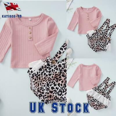 Toddler Baby Girl Long Sleeve Tops+Animal Print Strap Shorts Romper Outfits Set • 4.99£