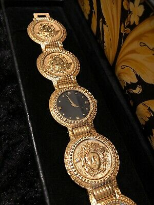 $1600 • Buy GIANNI VERSACE Signature G10 Gold-Plated Coin Watch, Medusa Head, Vintage Swiss