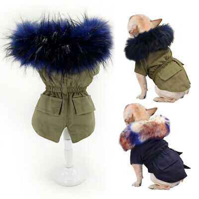 £13.68 • Buy Warm Dog Coat For Small Dogs Hoodie Jacket Fur Collar Winter Pet Clothes Apparel