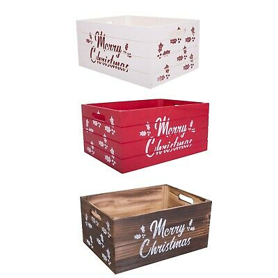 Christmas Edition Wooden Crates Retail Display Storage Box Gift Hamper Eve Box • 11.39£