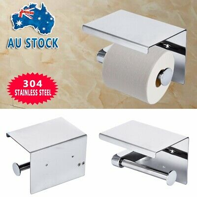 AU20.99 • Buy 304 Stainless Steel Toilet Paper Roll Holder With Phone Shelf Polished Chrome