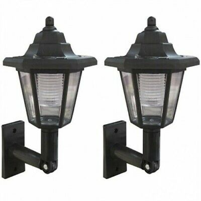 2x Solar Garden Lantern – Outdoor LED Wall Light Outside Coach Lamp Traditional • 9.99£