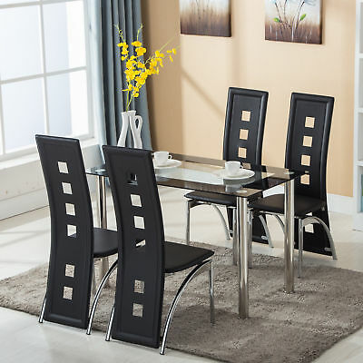 5 Piece Dining Set Glass Top Table And 4 Leather Chair For Kitchen Dining Room • 165.99$
