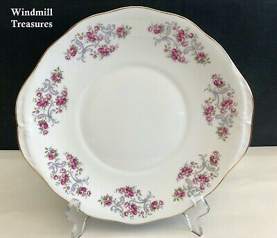 ROYAL OSBORNE GILDED PIN ROSES BONE CHINA CAKE SANDWICH PLATE  Pattern No 8595 • 11.99£