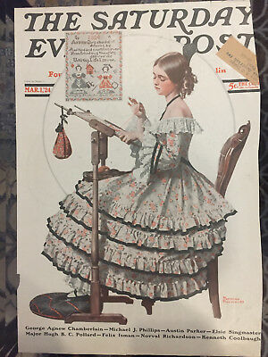 $ CDN25.43 • Buy Saturday Evening Post 3/1/24 COVER ONLY Norman Rockwell  Needlepoint