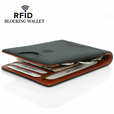 AU12.98 • Buy AU 100% Genuine Leather Mens Slim Wallet RFID Blocking ID Card Holder Money Clip