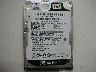 AU16.67 • Buy WD Scorpio Black 320gb WD3200BEKX-75B7WT0 2060-771692-006 Rev A 2,5   SATA