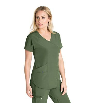$19 • Buy Barco One Women's Scrub Top Size XS Style #BWT008 Color Green Space (394)