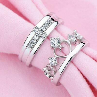 £2.99 • Buy Resizable Couple 925 Sterling Silver Plated Royal Crown King Queen Noble CZ Ring