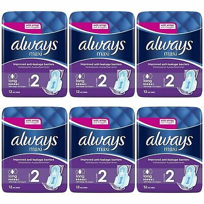 £11.04 • Buy 72 X Always Maxi Long Sanitary Pads W/ Wings, Leakage Barriers - Super Absorbent