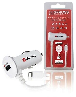 New SKROSS Midget USB Car Charger With Lightning Connector IPhone / IPad / IPod • 6.99£