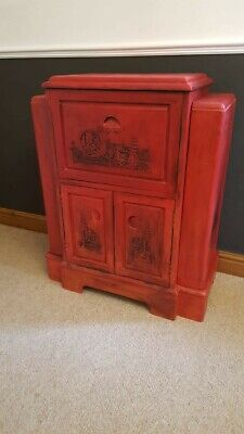 Unusual Hand Painted Annie Sloan Emperors Silk And Black Wax Drinks Cabinet • 150£