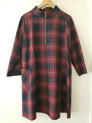 $40 • Buy Zara Red Navy Tartan Size XL Check Zip Funnel Neck A-Line Dress Mint Condition