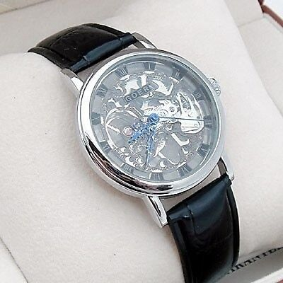 £36.94 • Buy Silver Steampunk Heirloom Mechanical Skeleton Wind-up Black Leather Luxury Watch