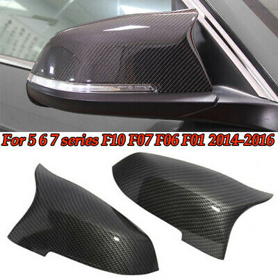 $49.98 • Buy 1Pair Carbon Fiber Side Mirror Covers Caps Factory Fit For BMW F10 M5 2014-2016