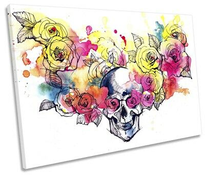 Skull Floral Flowers Print SINGLE CANVAS WALL ART Picture Multi-Coloured • 23.99£