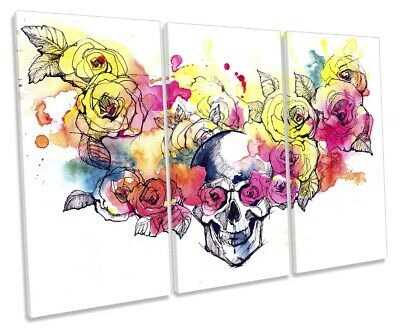 Skull Floral Flowers Print TREBLE CANVAS WALL ART Picture Multi-Coloured • 39.99£