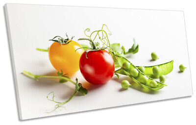 Tomato Runner Beans Kitchen PANORAMIC CANVAS WALL ART Picture Multi-Coloured • 34.99£