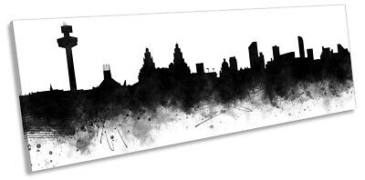 £34.99 • Buy Liverpool Abstract City Skyline Print PANORAMA CANVAS WALL ART Picture Black