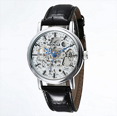 £32.64 • Buy Unisex Silver Heirloom Mechanical Windup Skeleton Steampunk Black Leather Watch