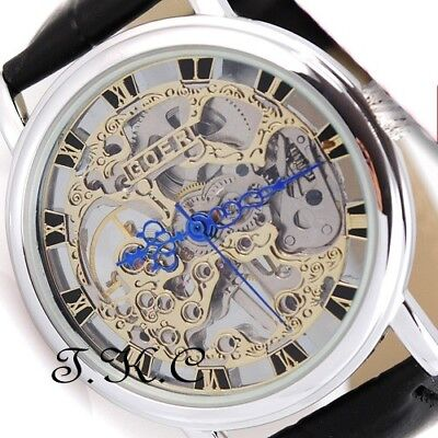 £32.51 • Buy Silver Heirloom Mechanical Wind-up Skeleton Steampunk Unisex Black Leather Watch