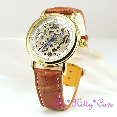 £32.51 • Buy Mechanical Hollow Skeleton Steampunk Unisex Gold Plated Tan Leather Windup Watch