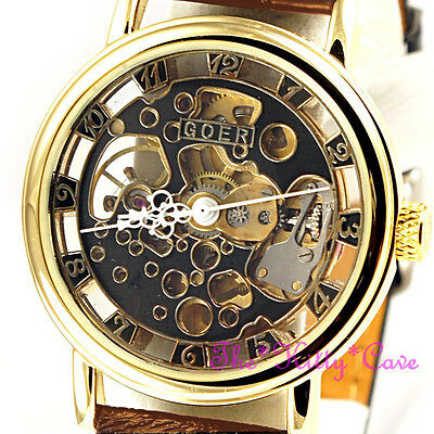 £32.95 • Buy Gold Mechanical Skeleton Heritage Steampunk Brown Leather Wind-Up Unisex Watch