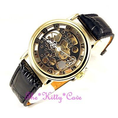 £32.51 • Buy Classic Gold Skeleton Steampunk Black Leather Mechanical Wind-Up Heritage Watch