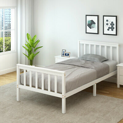 Single Bed White 3ft Solid Pine Wooden Bed Frame Adult, Children, Kids Bedframe • 49.99£