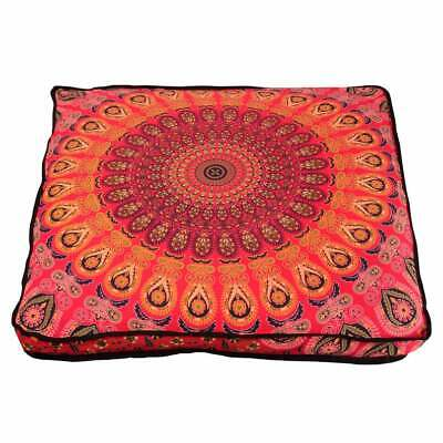 35  Red Peacock Vintage Mandala Square Indian Floor Pillow Case Cushion Cover • 13.83£