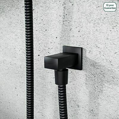 £14.99 • Buy Square Matt Black Wall Mounted Concealed Connector Shower Hose Outlet Elbow
