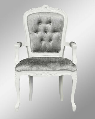 French Louis XV Elise Armchair  - French White  With Brushed Grey Velvet  • 169£