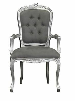 French Louis XV Elise Armchair  - Silver With Plush Grey Velvet • 169£